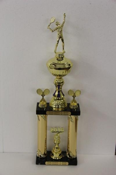 Säulenpokal Roger Gold/Blau, Tennis, 570 mm bis 670 mm
