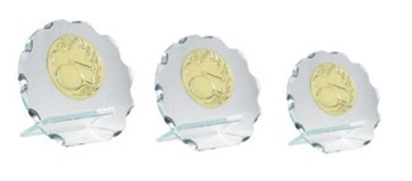 Glastrophäe mit Emblem und Gravur, NP352140