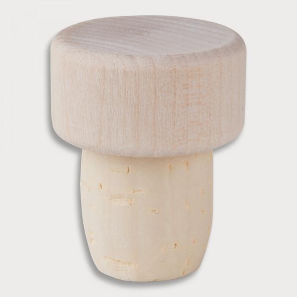 Flaschenstöpsel, Holzscheibe und Korken aus Holz 2,8 cm